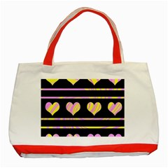 Pink And Yellow Harts Pattern Classic Tote Bag (red) by Valentinaart