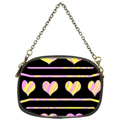 Pink And Yellow Harts Pattern Chain Purses (one Side)  by Valentinaart