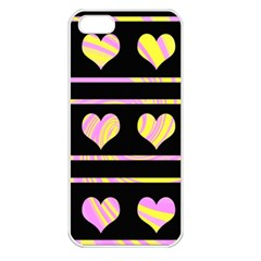 Pink And Yellow Harts Pattern Apple Iphone 5 Seamless Case (white) by Valentinaart