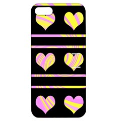 Pink And Yellow Harts Pattern Apple Iphone 5 Hardshell Case With Stand by Valentinaart
