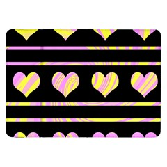 Pink And Yellow Harts Pattern Samsung Galaxy Tab 8 9  P7300 Flip Case by Valentinaart