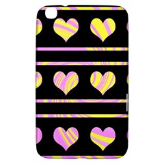 Pink And Yellow Harts Pattern Samsung Galaxy Tab 3 (8 ) T3100 Hardshell Case  by Valentinaart