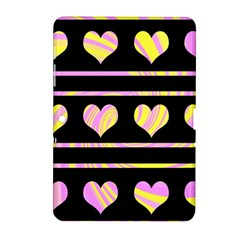 Pink and yellow harts pattern Samsung Galaxy Tab 2 (10.1 ) P5100 Hardshell Case