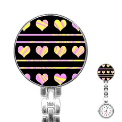 Pink And Yellow Harts Pattern Stainless Steel Nurses Watch by Valentinaart
