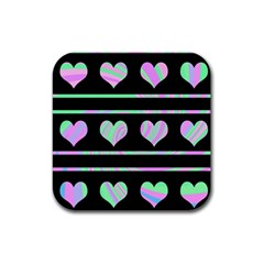 Pastel Harts Pattern Rubber Square Coaster (4 Pack)  by Valentinaart