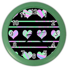 Pastel Harts Pattern Color Wall Clocks by Valentinaart