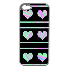 Pastel Harts Pattern Apple Iphone 5 Case (silver) by Valentinaart