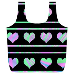 Pastel Harts Pattern Full Print Recycle Bags (l)  by Valentinaart