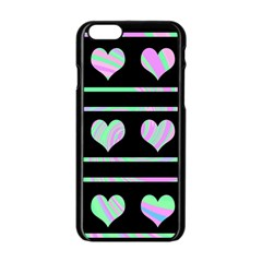 Pastel Harts Pattern Apple Iphone 6/6s Black Enamel Case by Valentinaart