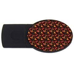 Exotic Colorful Flower Pattern Usb Flash Drive Oval (4 Gb)  by Brittlevirginclothing