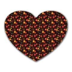 Exotic Colorful Flower Pattern Heart Mousepads by Brittlevirginclothing