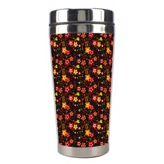 Exotic Colorful Flower Pattern Stainless Steel Travel Tumblers by Brittlevirginclothing