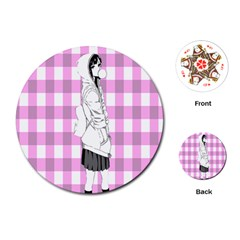 Cute Anime Girl Playing Cards (round)  by Brittlevirginclothing