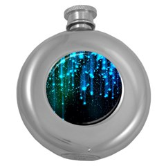 Abstract Stars Falling Round Hip Flask (5 Oz) by Brittlevirginclothing