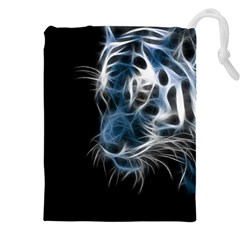 Ghost Tiger  Drawstring Pouches (xxl) by Brittlevirginclothing