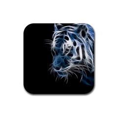 Ghost Tiger Rubber Square Coaster (4 Pack)  by Brittlevirginclothing