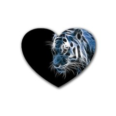 Ghost Tiger Rubber Coaster (heart)  by Brittlevirginclothing