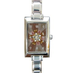 Elegant Antique Pink Kaleidoscope Flower Gold Chic Stylish Classic Design Rectangle Italian Charm Watch by yoursparklingshop