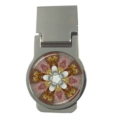 Elegant Antique Pink Kaleidoscope Flower Gold Chic Stylish Classic Design Money Clips (round)  by yoursparklingshop
