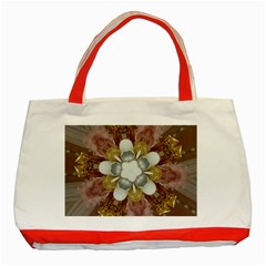 Elegant Antique Pink Kaleidoscope Flower Gold Chic Stylish Classic Design Classic Tote Bag (red) by yoursparklingshop