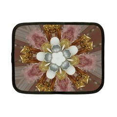 Elegant Antique Pink Kaleidoscope Flower Gold Chic Stylish Classic Design Netbook Case (small)  by yoursparklingshop