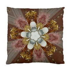 Elegant Antique Pink Kaleidoscope Flower Gold Chic Stylish Classic Design Standard Cushion Case (one Side) by yoursparklingshop