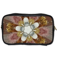 Elegant Antique Pink Kaleidoscope Flower Gold Chic Stylish Classic Design Toiletries Bags 2 Side by yoursparklingshop
