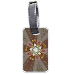 Elegant Antique Pink Kaleidoscope Flower Gold Chic Stylish Classic Design Luggage Tags (two Sides) by yoursparklingshop
