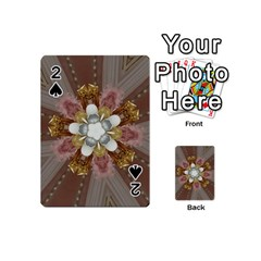 Elegant Antique Pink Kaleidoscope Flower Gold Chic Stylish Classic Design Playing Cards 54 (mini)  by yoursparklingshop