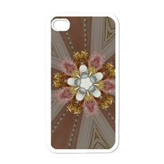 Elegant Antique Pink Kaleidoscope Flower Gold Chic Stylish Classic Design Apple Iphone 4 Case (white) by yoursparklingshop