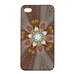 Elegant Antique Pink Kaleidoscope Flower Gold Chic Stylish Classic Design Apple Iphone 4/4s Seamless Case (black) by yoursparklingshop