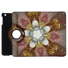 Elegant Antique Pink Kaleidoscope Flower Gold Chic Stylish Classic Design Apple Ipad Mini Flip 360 Case by yoursparklingshop