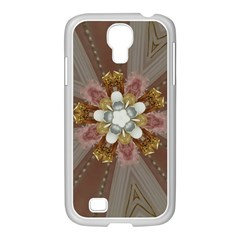 Elegant Antique Pink Kaleidoscope Flower Gold Chic Stylish Classic Design Samsung Galaxy S4 I9500/ I9505 Case (white) by yoursparklingshop
