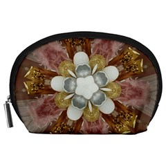 Elegant Antique Pink Kaleidoscope Flower Gold Chic Stylish Classic Design Accessory Pouches (large)  by yoursparklingshop