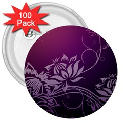 Purple Lotus 3  Buttons (100 pack)