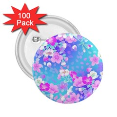 Colorful Pastel Flowers  2 25  Buttons (100 Pack)  by Brittlevirginclothing