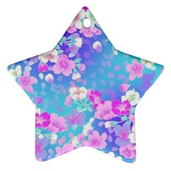 Colorful Pastel Flowers  Ornament (star)  by Brittlevirginclothing