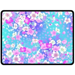 Colorful Pastel Flowers Double Sided Fleece Blanket (large)  by Brittlevirginclothing