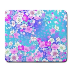 Colorful Pastel Flowers Large Mousepads by Brittlevirginclothing