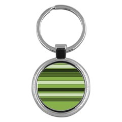 Greenery Stripes Pattern Horizontal Stripe Shades Of Spring Green Key Chains (round)  by yoursparklingshop