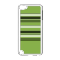 Greenery Stripes Pattern Horizontal Stripe Shades Of Spring Green Apple Ipod Touch 5 Case (white) by yoursparklingshop