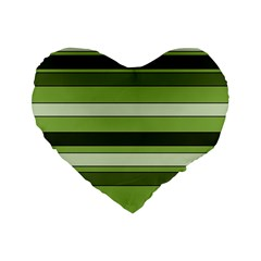 Greenery Stripes Pattern Horizontal Stripe Shades Of Spring Green Standard 16  Premium Flano Heart Shape Cushions by yoursparklingshop