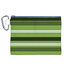 Greenery Stripes Pattern Horizontal Stripe Shades Of Spring Green Canvas Cosmetic Bag (xl) by yoursparklingshop