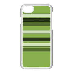 Greenery Stripes Pattern Horizontal Stripe Shades Of Spring Green Apple Iphone 7 Seamless Case (white) by yoursparklingshop