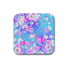 Colorful Pastel Flowers Rubber Coaster (square)  by Brittlevirginclothing