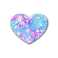 Colorful Pastel Flowers Rubber Coaster (heart)  by Brittlevirginclothing