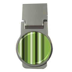 Greenery Stripes Pattern 8000 Vertical Stripe Shades Of Spring Green Color Money Clips (round)  by yoursparklingshop