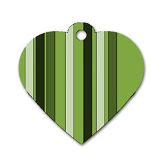 Greenery Stripes Pattern 8000 Vertical Stripe Shades Of Spring Green Color Dog Tag Heart (one Side) by yoursparklingshop