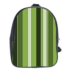Greenery Stripes Pattern 8000 Vertical Stripe Shades Of Spring Green Color School Bags(large)  by yoursparklingshop