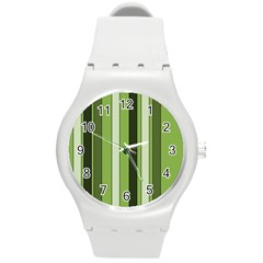 Greenery Stripes Pattern 8000 Vertical Stripe Shades Of Spring Green Color Round Plastic Sport Watch (m) by yoursparklingshop